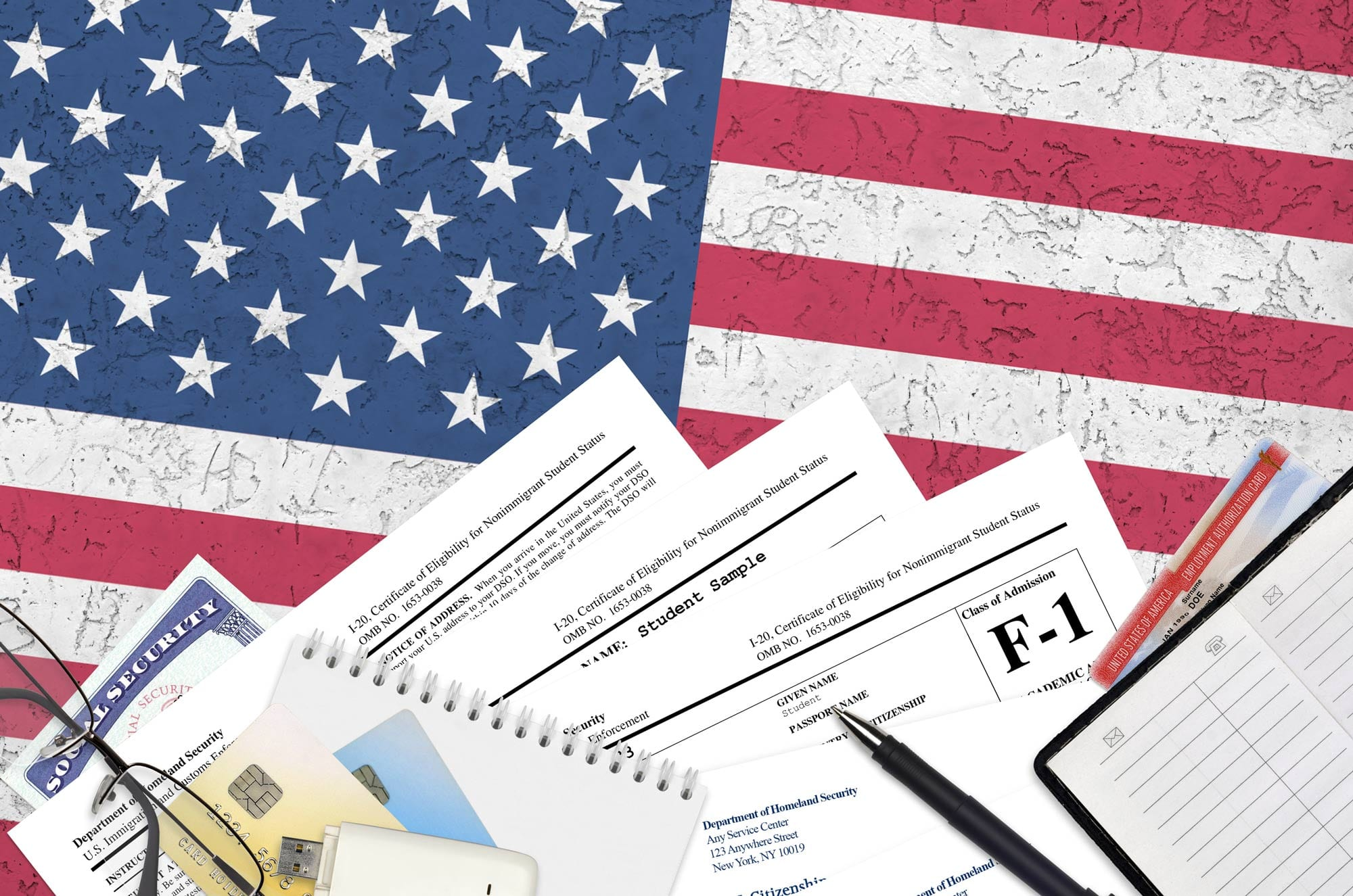 Pile of immigration and citizenship documents for the USA | Clearwater Law Group | undocumented immigrants